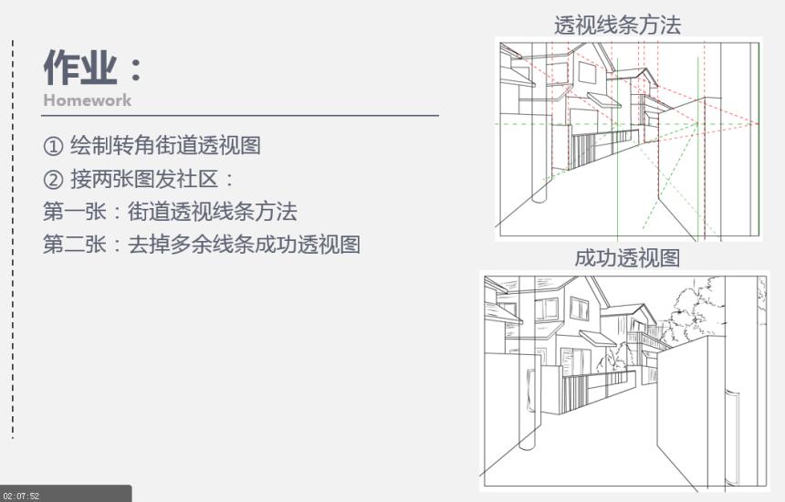 第十二课:一点透视(街道转角)绘制方法